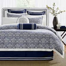 image of solid navy blue comforter
