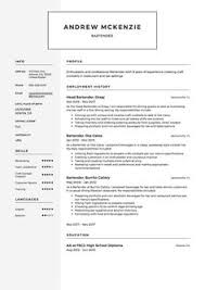 Sample Bartender Resume Examples | Hospitality Cv Templates, Free ...