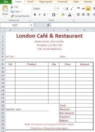 Restaurant Bill Format In Excel Free Download Top Docx