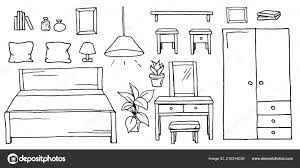 hand drawn cartoon black and white bedroom furniture set monochrome collection of house furnishing elements