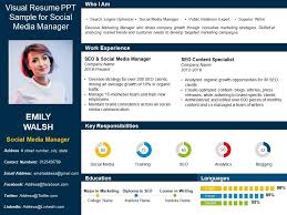 Resume In Powerpoint Visual Resume Ppt Sample For Social Media Manager
