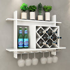Wall wine racks Brick Wall Mount Wine Rack W Glass Holder Storage Shelf Organizer Home Decor White Ebay Wine Racks Bottle Holders Ebay