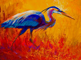 2019 artwork blue heron unframed modern canvas wall art for home and office decoration oil painting animal painatings frame