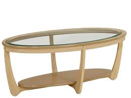 shades glass top oval coffee table in oak