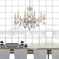 modern ivory multi coloured crystal chandelier