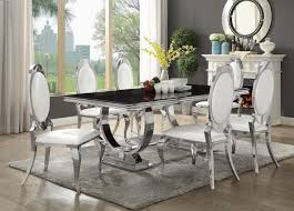 107871 72 7 pc antoine collection chrome metal base dining table set with black glass