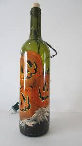 Hand Painted Jack-O- Lantern Lighted Wine Bottle Night Light Bar Light  Halloween Bottle