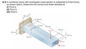 Q.3) A cantilever beam with rectangular cross-section is subjected to three
