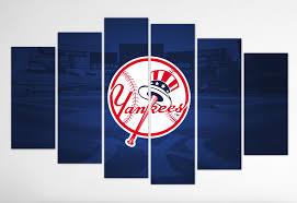 new york yankees ii primary logo on yankees canvas wall art with new york yankees wall art canvas prints geek paintings