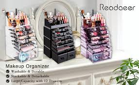 Readaeer Makeup Cosmetic Organizer Storage Drawers Display Boxes Case with  12 Drawers