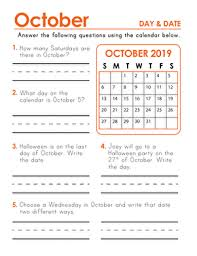 2019 October Calendar 2019 Calendar Days And Dates Education Com