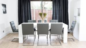 modern white dining table. modern grey real leather dining chairs and white table danetti