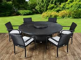 roma 6 rattan garden chairs large round table and lazy susan set in black and