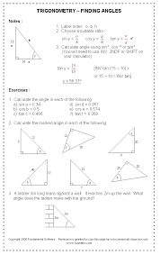 Trigonometric-ratios-worksheet & The Calculating Angle And Side ...