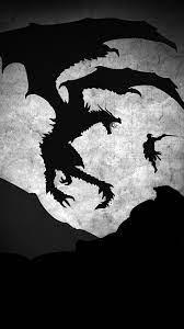 Skyrim Dragon Illustration Art Bw ...