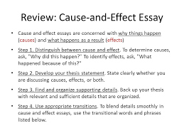unit cause and effect essay part ii review cause and effect  review cause and effect essay cause and effect essays are concerned why