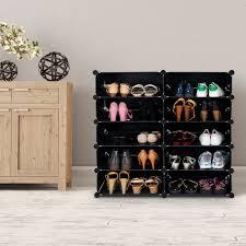 costway diy 13 cube portable shoe rack storage cabinet organizer 24 pair space saving 3
