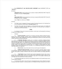 Data Confidentiality Agreement Cool Non Disclosure Agreement Template 44 Free Word Excel PDF