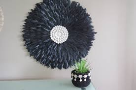 black feather wall hanging large