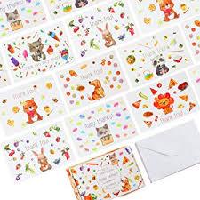 Amazon Com 56 Unique Thank You Postcards 7 Cute Animal Designs On