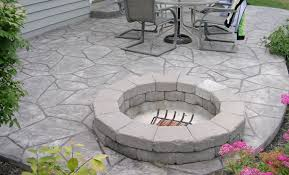 stamped concrete patio. Here\u0027s A Stamped Concrete Patio With Stone Fire Pit. O