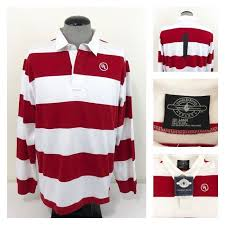 charles river apparel mens classic rugby shirt 9278 red white l