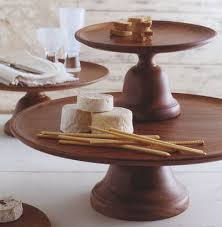 deluxe wood serving tray with pedestal stand