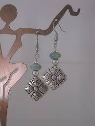 <b>Large</b> Square Ornate Silver Beaded Earrings with Aqua Ceramic ...