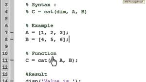 size of matrix matlab matlab function matrix concatenation cat youtube