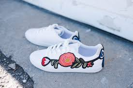 gucci 2017 shoes. patches are still hot thanks to gucci and these shoes right on trend with a floral embroidered applique. an easy diy jazz up pair of plain white 2017 i
