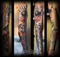 татуировка рукав отпечаток ладони соты часы осьминог щупальце