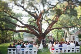 Outside wedding altar with white christmas tree lights and tree ...