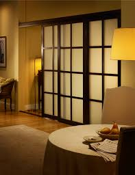 Frosted Glass Room Dividers With Wenge Frame Finish