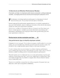 Performance Management Review Example Appraisal Comments For