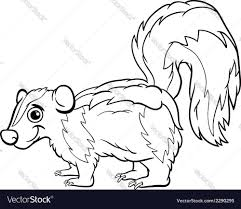 Small Picture Skunk animal cartoon coloring page Royalty Free Vector Image