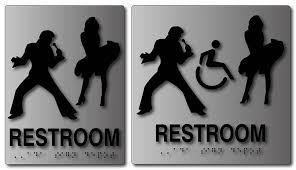 Elvis Presley and Marilyn Monroe Restroom Signs in Brushed Aluminum Impressive Unisex Bathroom