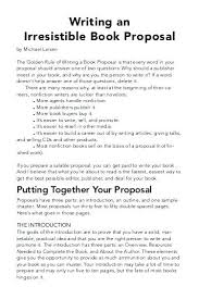 Book Proposal Sample Simple How To Write A Book Proposal Jessieandco