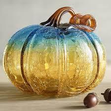 glass pumpkin um amber turquoise