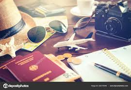 Trip Planner Cost Travel Planning Concept Accessories Passports Luggage Cost Travel
