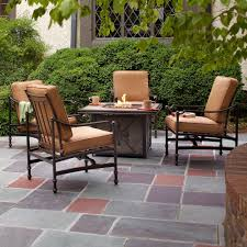 hampton bay niles park 5 piece gas fire pit patio seating set with cashew cushions