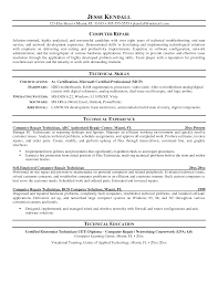 Computer Technician Resume Objective Computer Technician Resume