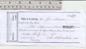 Dog Receipt Antique Dog Pound Receipt 1853