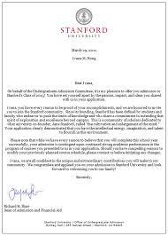 College Acceptance Letter Stanford Cover Letter For Job