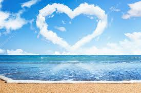 Beach and sea. Heart of clouds on sky. Symbol of love ⬇ Stock Photo, Image  by © Gladkov #6478649