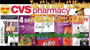 cvs coupon breakdowns 10 28 18 top 12 in under 12 minutes free gift card offer