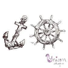Nalepovací Tetování Kotva A Kormidlo