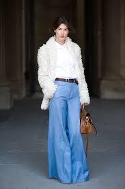 how to wear white fur coat white dress shirt light blue flare pants