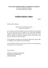 Authorization Letter Format For Company Representative Fresh Sample