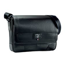 s t dupont defi small messenger bag in black carbon leather
