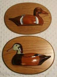 1950s flying ducks, country home decor, wall hanging wooden duck decor in 3 sizes, unique hunting gift, christmas gift. Wood Duck Plaques Oval Pair Of 3d Duck Wall Decor By Sindi 11 75 Wide Ebay